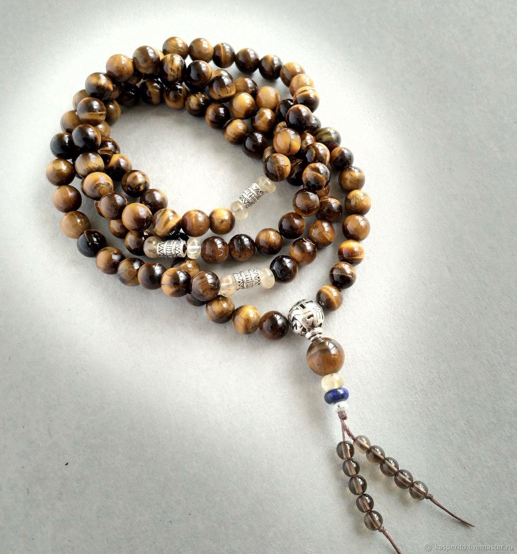 Mala 108 grains. Tiger eye, Rosary, Moscow,  Фото №1