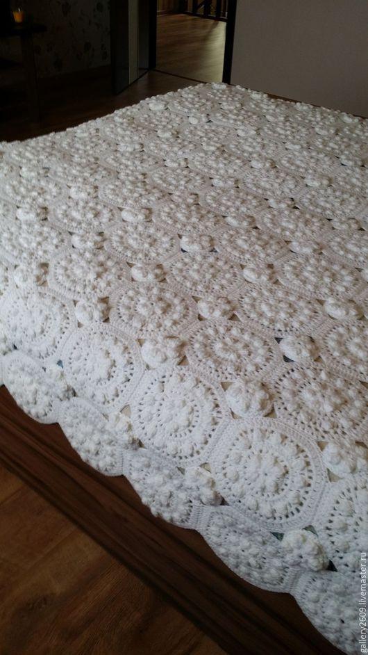 Текстиль, ковры ручной работы. Ярмарка Мастеров - ручная работа. Купить Плед вязаный крючком белый, 215/215 см. Handmade.