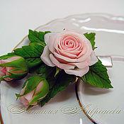 Свадебный салон handmade. Livemaster - original item Hair clip a Delicate rosette. Flowers from polymer clay. Handmade.