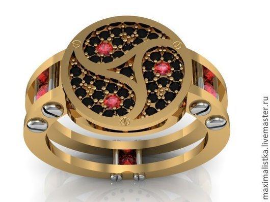 Кольца ручной работы. Ярмарка Мастеров - ручная работа. Купить Кольцо BDSM Трискель золото рубины бриллианты. Handmade. Золотой