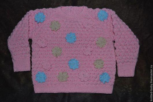 Одежда для девочек, ручной работы. Ярмарка Мастеров - ручная работа. Купить Джемпер для девочки Цветочная поляна. Handmade. Одежда для девочек