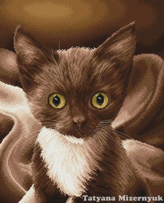 """Вышивка ручной работы. Ярмарка Мастеров - ручная работа. Купить Схема вышивки крестом """"Шоколадный котёнок"""". Handmade."""