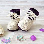 Работы для детей, handmade. Livemaster - original item booties knitted baby booties boots with warm milk. Handmade.