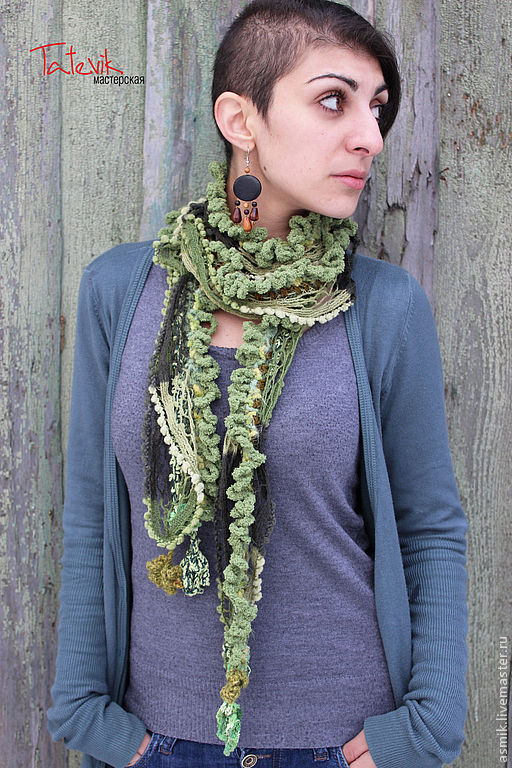 Knitted scarf 'Shades of green' boho chic, Scarves, Moscow,  Фото №1