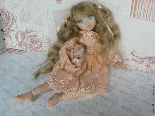 Коллекционные куклы ручной работы. Ярмарка Мастеров - ручная работа. Купить Хитоми шарнирная кукла. Handmade. Бежевый, кукла, шерсть