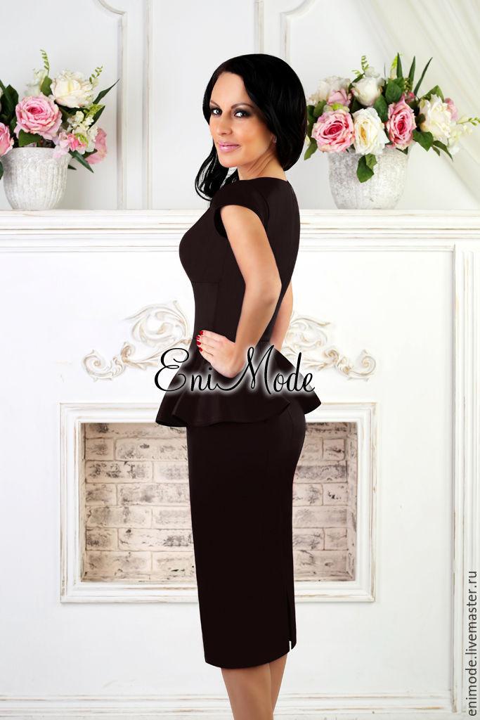 b1b9b68b335 Интернет- · Платья ручной работы. Заказать Элегантное чёрное платье-футляр  с баской. EniMode. Ярмарка