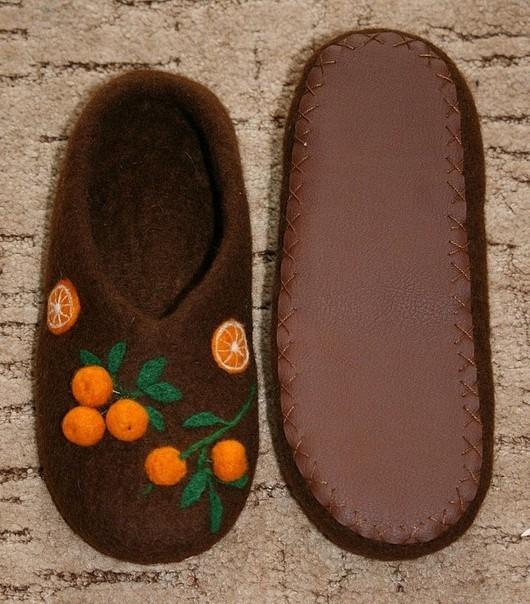 """Обувь ручной работы. Ярмарка Мастеров - ручная работа. Купить Домашние тапочки """"Кому АПЕЛЬСИНЫ - кому витамины?"""". Handmade."""