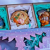 Подарки к праздникам handmade. Livemaster - original item Set of Christmas balls-box of wood with painting 3 PCs. gift 2017. Handmade.