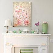 """Картины и панно ручной работы. Ярмарка Мастеров - ручная работа """"Нежные розы"""" Интерьерная картина. Handmade."""