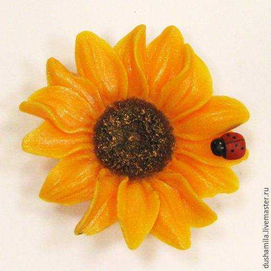 Мыло ручной работы. Ярмарка Мастеров - ручная работа. Купить Мыло Цветок подсолнуха. Handmade. Оранжевый, мыло цветы