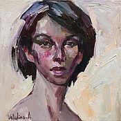 """Картины и панно handmade. Livemaster - original item """" Кареглазая """", портрет маслом на холсте.. Handmade."""