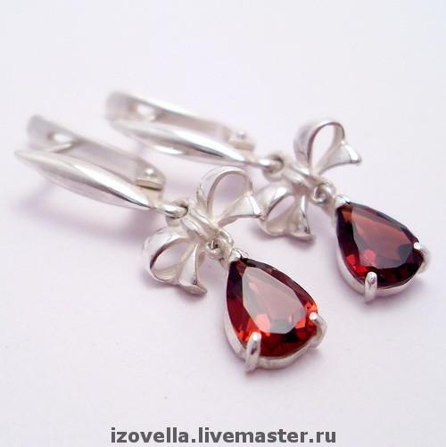 Earrings handmade. Livemaster - handmade. Buy Earrings 'Bows' - natural stones, silver 925.925 sterling silver, silver earrings