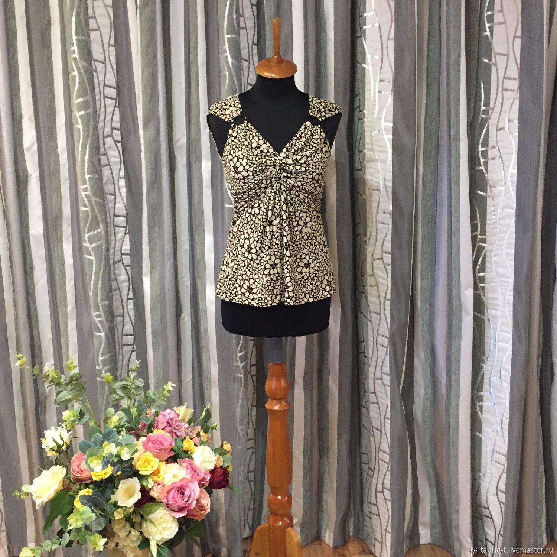 Одежда. Ярмарка Мастеров - ручная работа. Купить Винтаж: Трикотажная блуза – майка с цветочным рисунком 42 размера. Handmade.