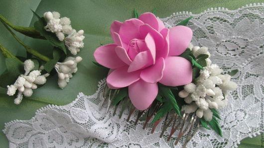 Цветы ручной работы. Ярмарка Мастеров - ручная работа. Купить Гребень с цветами из фоамирана. Handmade. Розовый, украшение для волос