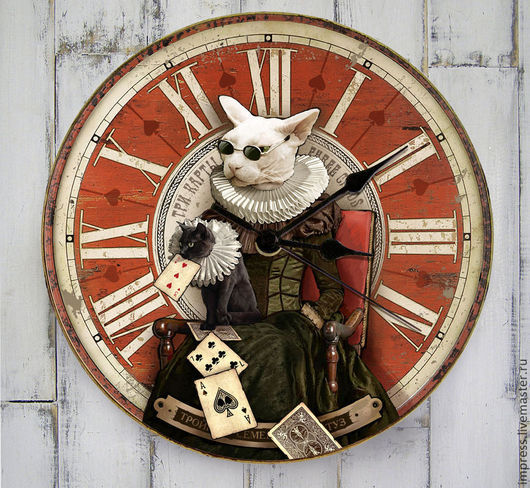 Часы для дома ручной работы. Ярмарка Мастеров - ручная работа. Купить Часы настенные Три карты. Handmade. Ярко-красный