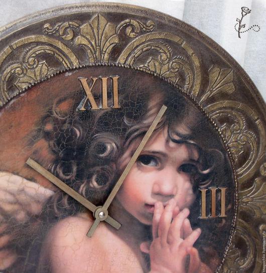 Часы для дома ручной работы. Ярмарка Мастеров - ручная работа. Купить Часы Мой ангел (диаметр 45см). Handmade. Коричневый
