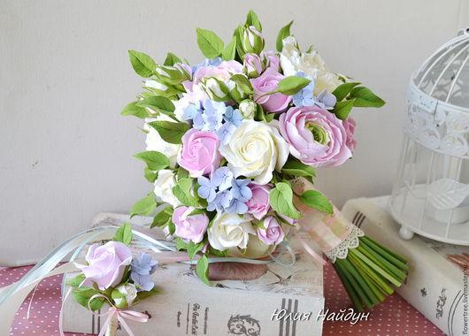 Букеты ручной работы. Ярмарка Мастеров - ручная работа. Купить Букет невесты с цветами из полимерной глины. Handmade. Бледно-розовый