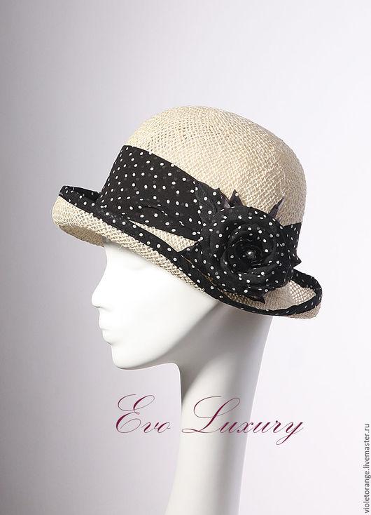 Летняя шляпка с декором из ленты в горошек. Дизайнер Елена Ушакова.