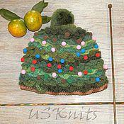 Аксессуары ручной работы. Ярмарка Мастеров - ручная работа Вязаная Шапка-елка забавная новогодняя шапка. Handmade.