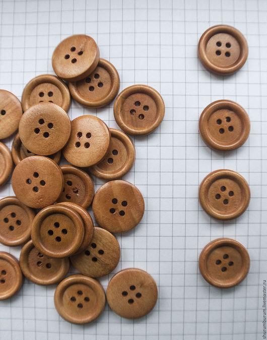 Шитье ручной работы. Ярмарка Мастеров - ручная работа. Купить пуговицы просто деревянные с ободком 4 прокола 20мм. Handmade.