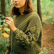 Одежда handmade. Livemaster - original item Women`s olive sweater voluminous sleeves. Handmade.