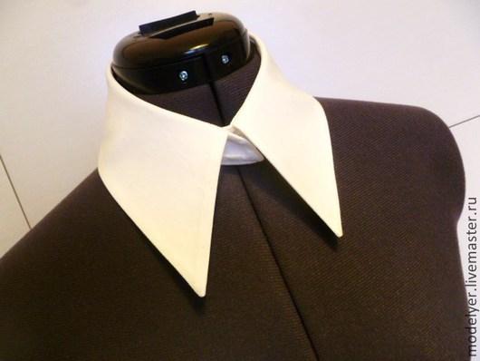Воротнички ручной работы. Ярмарка Мастеров - ручная работа. Купить Съемный воротничок рубашечный на стойке / хлопок белый. Handmade.