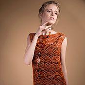"""Одежда ручной работы. Ярмарка Мастеров - ручная работа Вязаное крючком льняное платье """"Янтарь"""". Handmade."""