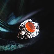 """Украшения ручной работы. Ярмарка Мастеров - ручная работа Серебряное кольцо с сердоликом """"Мандарин и хвоя"""". Handmade."""