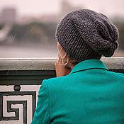 Аксессуары ручной работы. Ярмарка Мастеров - ручная работа Шапка носок чулок бини женская серая колпак носком лазурный. Handmade.