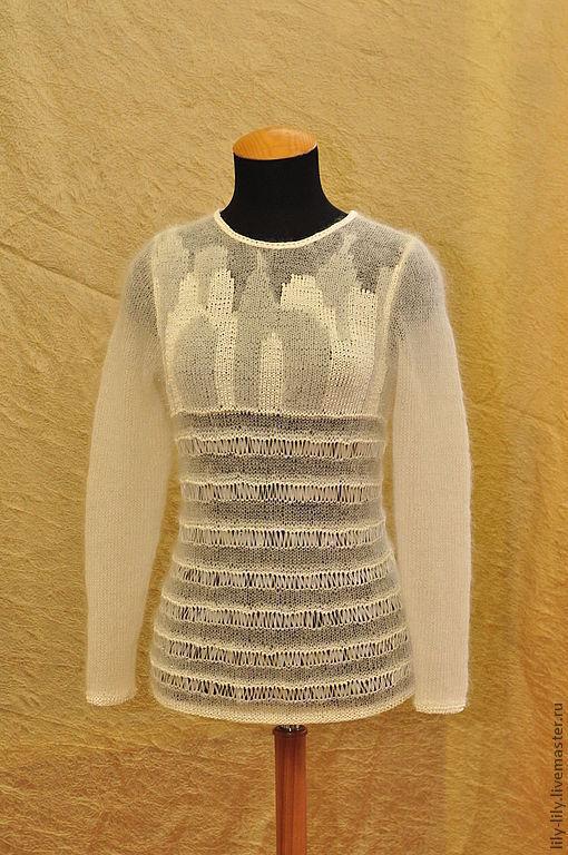 """Кофты и свитера ручной работы. Ярмарка Мастеров - ручная работа. Купить Джемпер """"Зимний город"""". Handmade. Белый, джемпер вязаный"""