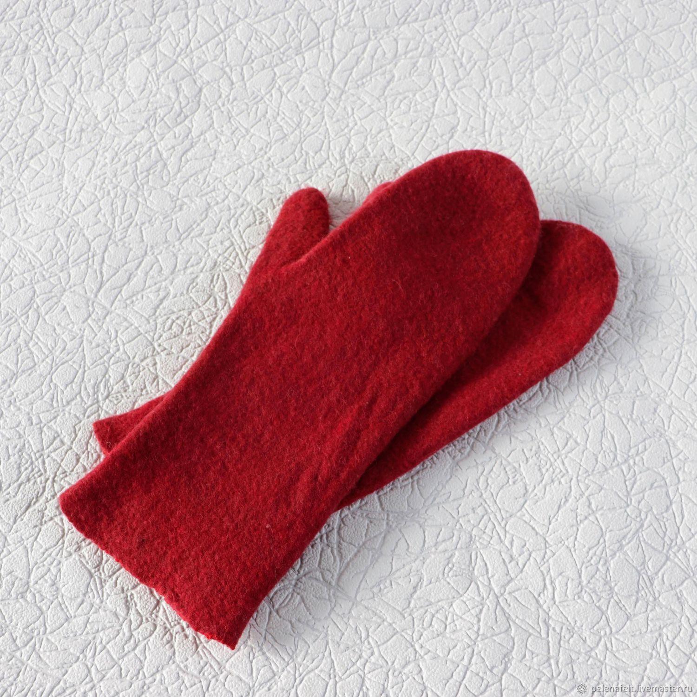 Красные варежки из шерсти мериноса, валяные, Варежки, Энгельс,  Фото №1