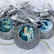 """Подарки к праздникам ручной работы. Ярмарка Мастеров - ручная работа Елочные шары """"Снегурочка"""" 4 штуки. Handmade."""