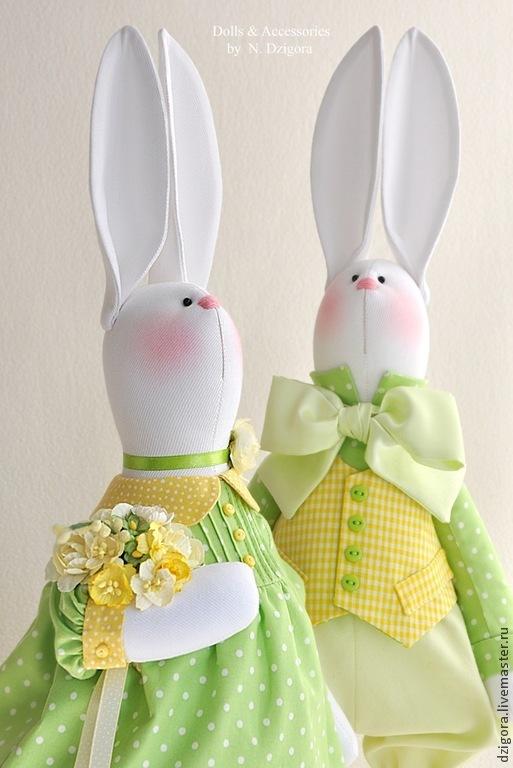 Игрушки животные, ручной работы. Ярмарка Мастеров - ручная работа. Купить Весенняя мелодия. Парочка белых кроликов, пасхальные кролики. Handmade.