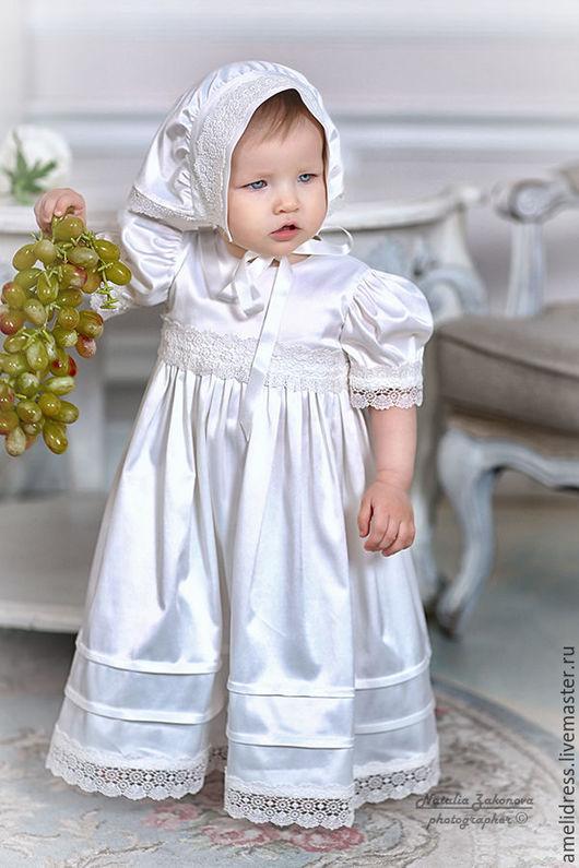 Крестильные принадлежности ручной работы. Ярмарка Мастеров - ручная работа. Купить Крестильное платье. Handmade. Белый, красота, атлас на хлопке