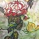 Картины цветов ручной работы. Ярмарка Мастеров - ручная работа. Купить Батик картина.Роза.. Handmade. Восточный стиль