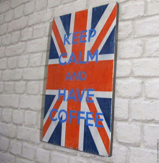 Интерьерные слова ручной работы. Ярмарка Мастеров - ручная работа. Купить Картина деревянная Британский флаг. Handmade. Комбинированный