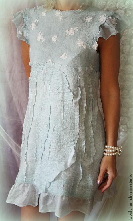 Платья ручной работы. Ярмарка Мастеров - ручная работа. Купить Платье валяное Мятный рассвет. Handmade. Валяное платье, мята