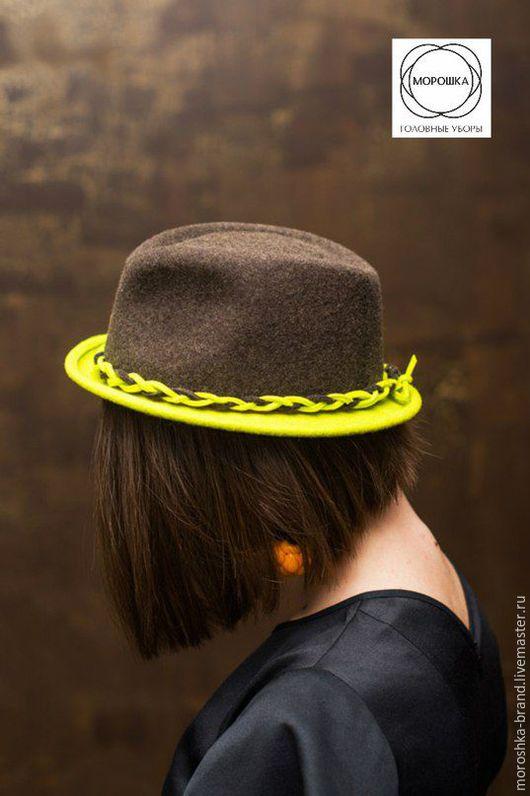 """Шляпы ручной работы. Ярмарка Мастеров - ручная работа. Купить Шляпа """"Федора-лайм"""". Handmade. Комбинированный, шляпа федора"""