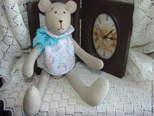Куклы Тильды ручной работы. Ярмарка Мастеров - ручная работа. Купить Текстильный мишка в стиле тильда. Handmade. Серый, подарок
