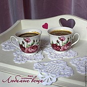 Для дома и интерьера ручной работы. Ярмарка Мастеров - ручная работа Подставки под чашку, подставки под кружку, белые ажурные салфетки. Handmade.