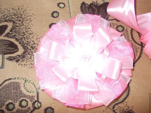 Для новорожденных, ручной работы. Ярмарка Мастеров - ручная работа. Купить Бант на выписку для девочки. Handmade. Розовый, атласная лента