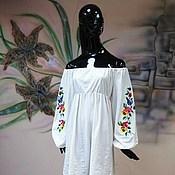 """Одежда ручной работы. Ярмарка Мастеров - ручная работа Вышитое платье на несколько размеров """"Анютины глазки"""" трикотаж хлопок. Handmade."""