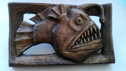 """Животные ручной работы. Ярмарка Мастеров - ручная работа. Купить Декор из массива березы, резной """"Удильщик"""". Handmade."""