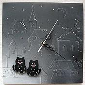"""Часы ручной работы. Ярмарка Мастеров - ручная работа Авторские часы ручной работы """"Коты на крыше"""". Handmade."""