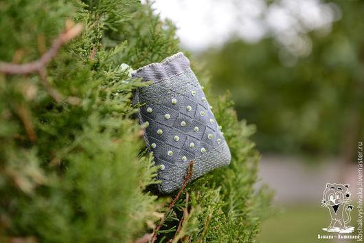 Текстиль, ковры ручной работы. Ярмарка Мастеров - ручная работа. Купить Мешочек для чёток. Handmade. Серый, вышивка, зеленый, бусина