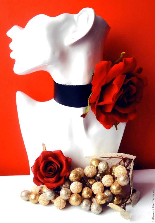 Колье, бусы ручной работы. Ярмарка Мастеров - ручная работа. Купить Колье ошейник из кожи и бархатной Розы. Handmade. Колье