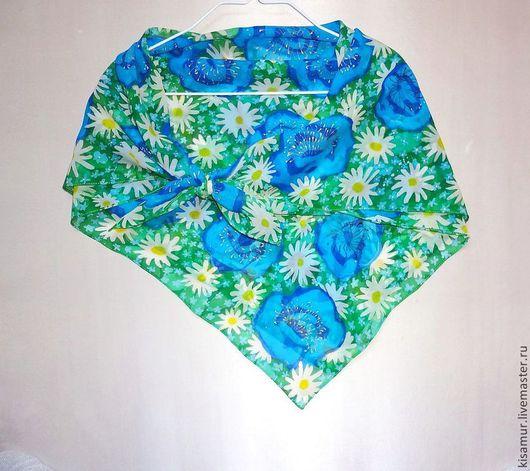 Шали, палантины ручной работы. Ярмарка Мастеров - ручная работа. Купить шелковый платок-батик натуральный шелк шифон цветочный рисунок. Handmade.