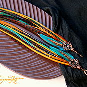 handmade. Livemaster - original item Dark turquoise long earrings