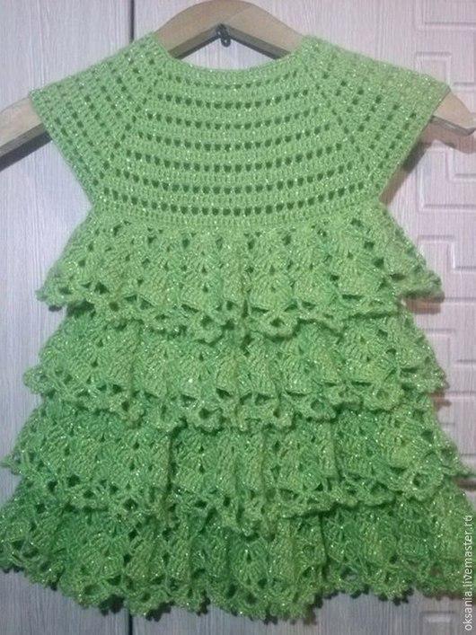 Платья ручной работы. Ярмарка Мастеров - ручная работа. Купить платье для девочки крючком. Handmade. Зеленый, осень, акрил, мохер
