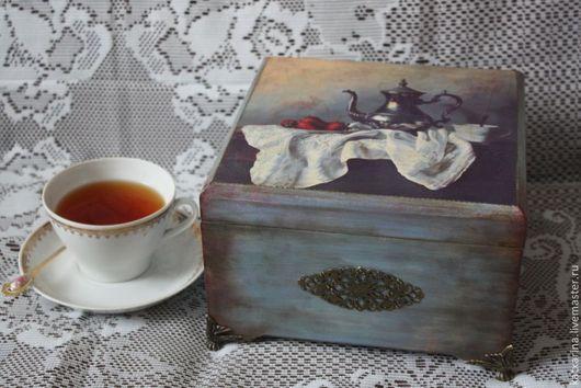 """Кухня ручной работы. Ярмарка Мастеров - ручная работа. Купить Шкатулка для чая """"Завтрак аристократа"""". Handmade. Голубой, шкатулка для чая"""